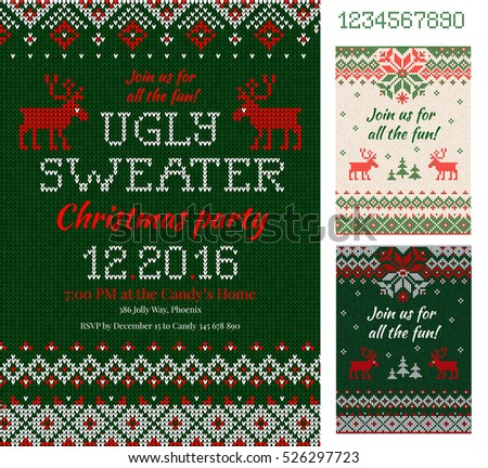 merry christmas party invitation cards with knitted patterns and ornaments in scandinavian style with deers - Ugly Sweater Christmas Party Invitations
