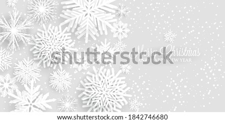 Merry Christmas Party Invitation or greeting card paper cut snowflake happy new year Photo stock ©