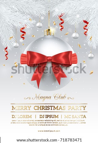 Merry Christmas party poster design. Xmas tree balls, branches and ribbons composition. Creative winter holidays background. Eps10 vector xmas poster.