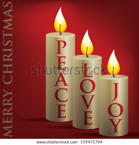 Merry Christmas Peace, Love, Joy candle card in vector format.