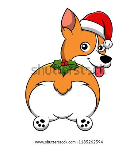 Merry Christmas Pembroke Welsh Corgi Cartoon Dog. Vector illustration of purebred Christmas pembroke welsh corgi dog.