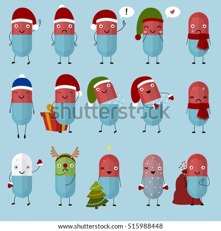 Merry Christmas pills. Happy pills and tablets on a blue background, medication with emotion and eyes, smile, happiness. Vector image