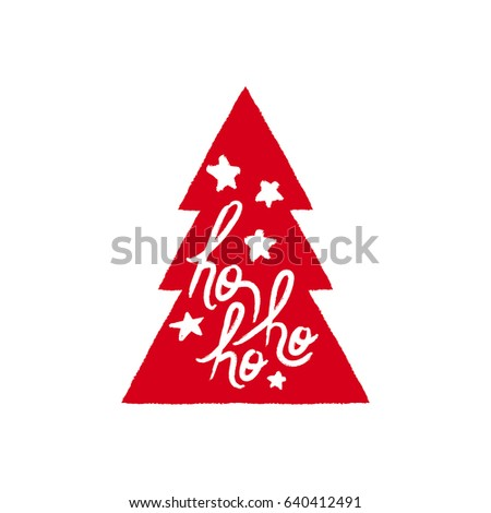 Merry Christmas pine tree text quote, calligraphy lettering design for holiday season. Creative red typography font illustration. EPS10 vector.