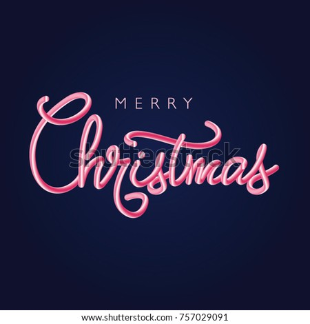 Merry Christmas pink letters. 3D effect vector. #757029091
