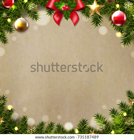 Merry Christmas Postcard Gradient Mesh Vector Illustration #735187489