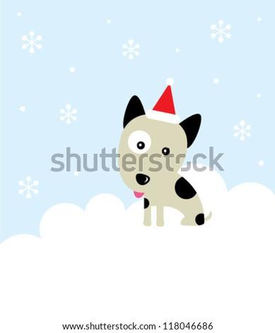 merry christmas puppy card - stock vector
