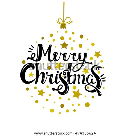 Merry Christmas - quote in ornament for a Christmas tree. Unique lettering. Vector art. Great design element for congratulation cards, banners and flyer