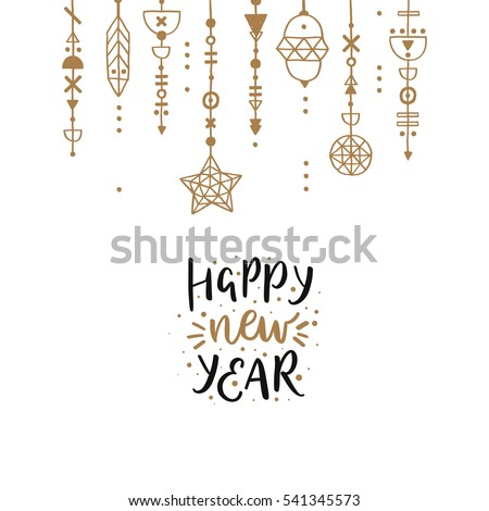 Merry christmas quote, vector text and stars for design greeting cards, photo overlays, prints, posters. Hand drawn letters. Happy new year