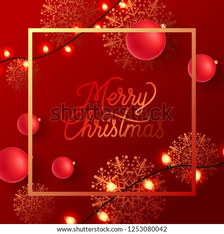 Merry Christmas red and golden stylish poster design. Handwriting in squared frame with red balls, golden snowflakes, garlands. Can be used for posters, postcards, greetings