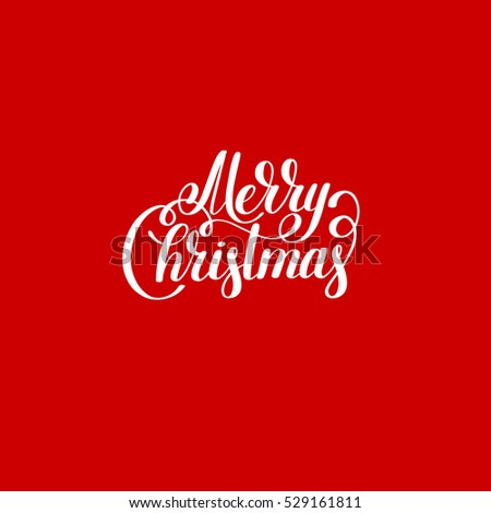 merry christmas red handwritten lettering inscription holiday phrase, typography banner with brush script, calligraphy vector illustration