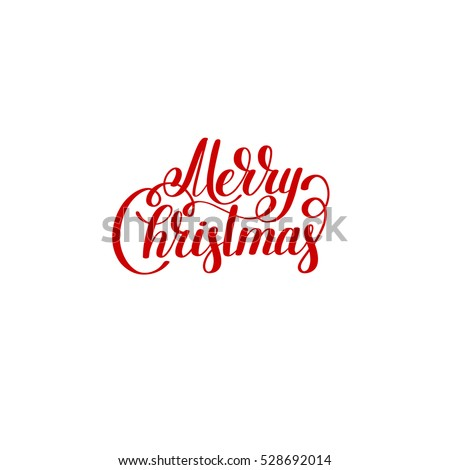merry christmas red logo handwritten lettering inscription holiday phrase, typography banner with brush script, calligraphy vector illustration