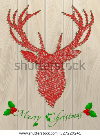 Merry Christmas. Reindeer thread. Christmas branch. Card, banner, congratulations.