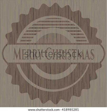 Merry Christmas retro style wooden emblem