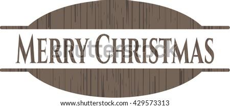 Merry Christmas retro style wooden emblem