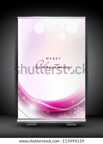 Merry Christmas roll up stand banner. EPS 10.