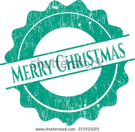 Merry Christmas rubber seal with grunge texture