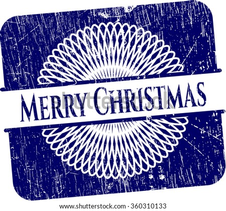 Merry Christmas rubber stamp with grunge texture