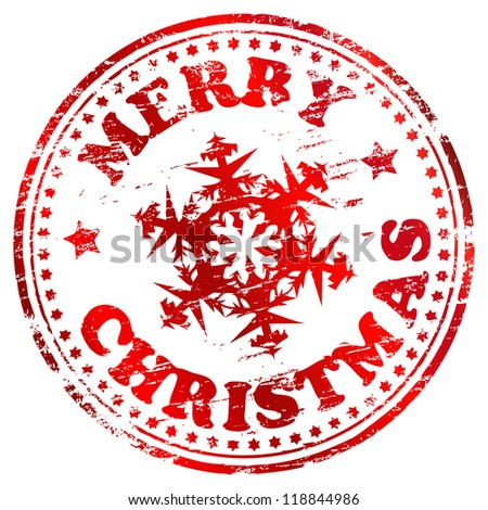 Merry christmas rubber stamp with snowflake vector illustration