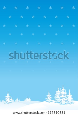 Merry Christmas's or New Year's background. Vector vertical background of winter landscape