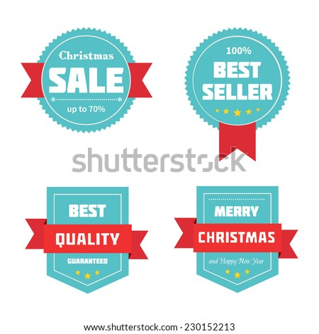 Merry Christmas sale badges. Vector illustration.