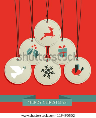 Merry Christmas sale set tags in pine tree shape. Vector illustration layered for easy manipulation and custom coloring.