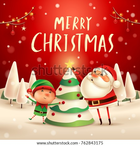 stock-vector-merry-christmas-santa-claus-and-elf-decorate-the-christmas-tree-in-christmas-snow-scene-winter