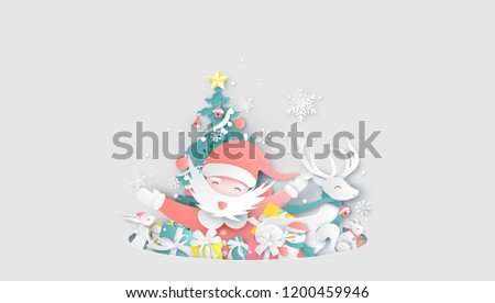 Merry Christmas. Santa Claus and friends prepare for Christmas. Happy Christmas day Celebrating together with friends. paper cut and craft design. vector, illustration. #1200459946