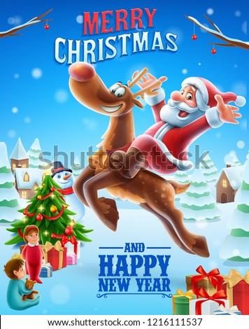 merry christmas santa claus illustration banner