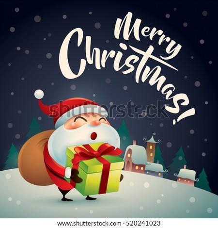 merry christmas santa claus in christmas snow scene christmas