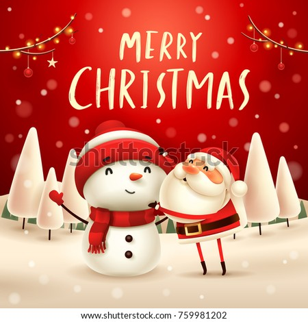 Merry Christmas! Santa Claus makes a Snowman in Christmas snow scene. Winter landscape.