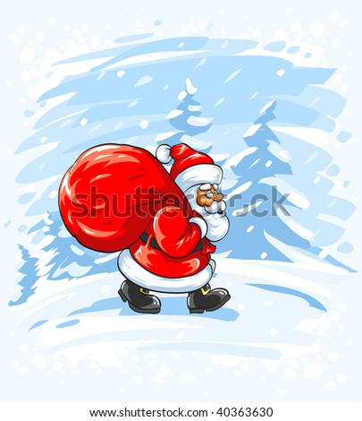 Merry Christmas Santa Claus walking in snow - vector illustration