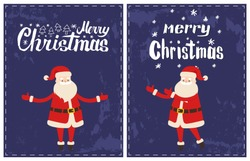Merry Christmas Santa Claus wishes happy holidays sticker on grunge dark blue. Red text, vector greeting card with New Year cartoon character isolated