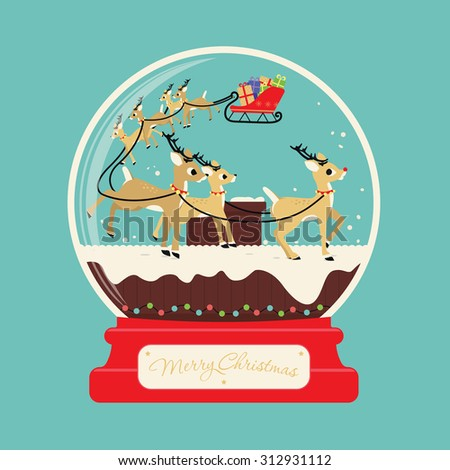 Merry christmas santa gifts with reindeers on the roof stock vector