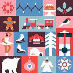 Merry Christmas seamless pattern illustration of modern minimalist xmas decoration icons. Festive celebration mosaic background includes colorful ornament, winter animals, children toy and gift.