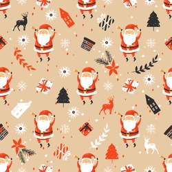 Merry Christmas seamless pattern with Santa Claus. Holiday pattern
