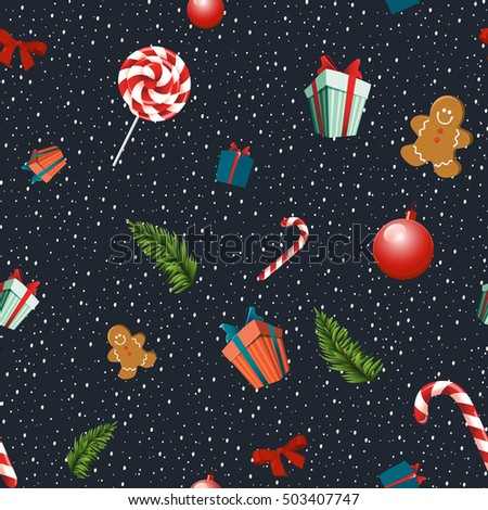 Merry Christmas seamless vector pattern with traditional elements: lollipops, gingerbread men, bow, fir branches, gift and Christmas balls.Pattern cropped with Clipping Mask. #503407747