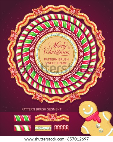 Merry Christmas set. Frames and borders stylized under lollipops, cookies and candies. Vector sweet festive elements. Pattern brushes segment included. Decorations Set for Celebratory Design.