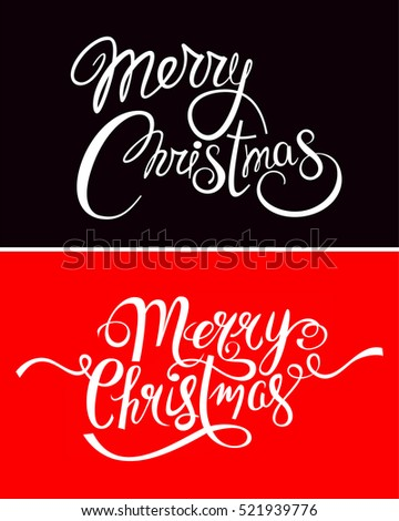 Merry Christmas Set Hand Drawn Lettering Text Vector Illustration