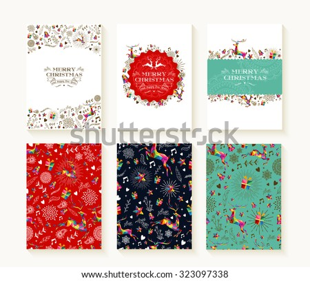 Merry christmas set of seamless xmas reindeer patterns in colorful low poly style and text templates. Ideal for holiday greeting cards, print, or wrapping paper. EPS10 vector file.