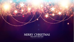 Merry Christmas Shining Background. Elegant New Year Decoration with Stars, Gold Garlands, Bokeh Effect and Shining Lights. Vector illustration