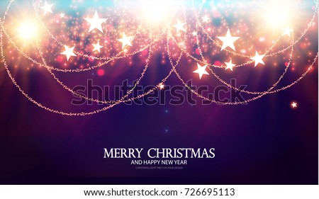 Stock Photo Merry Christmas Shining Background. Elegant New Year Decoration with Stars, Gold Garlands, Bokeh Effect and Shining Lights. Vector illustration
