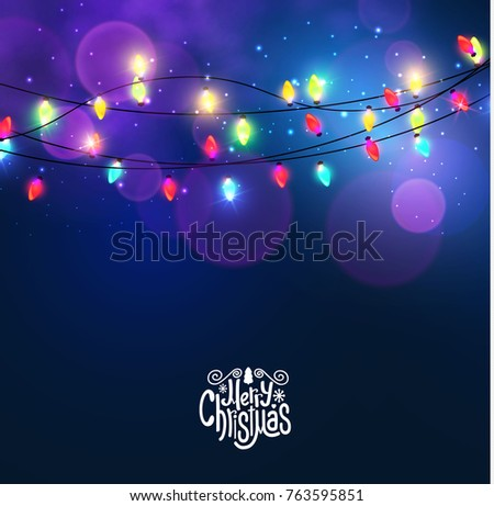 Stock Photo Merry Christmas Shining Backgroune with Colorful Light Bulb Garlands and Bokeh Effect. Vector illustration