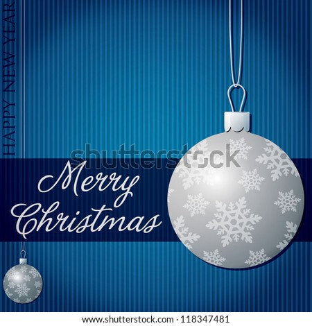Merry Christmas snow bauble card in vector format.
