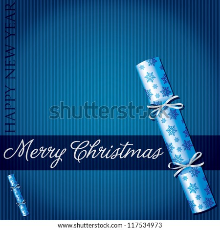 Merry Christmas snowflake cracker card in vector format.
