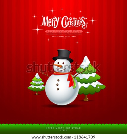 Merry Christmas Snowman and green tree Greeting card, vector illustration