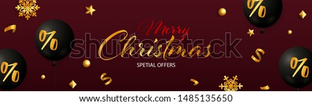 Merry Christmas Special Offers design gold decoration on dark red background. Up to percent lettering can be used for posters, leaflets, announcements
