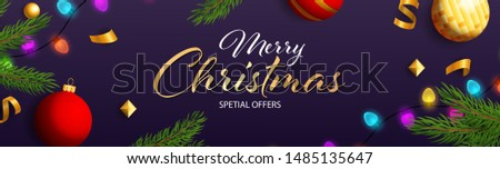 Merry Christmas Special Offers design with colorful light bulbs, Christmas toys and fir branch on dark purple background. Up to percent lettering can be used for posters, leaflets, announcements
