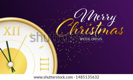 Merry Christmas Special Offers lettering with clock coming to midnight and yellow confetti on dark purple background. Lettering can be used for posters, leaflets, announcements