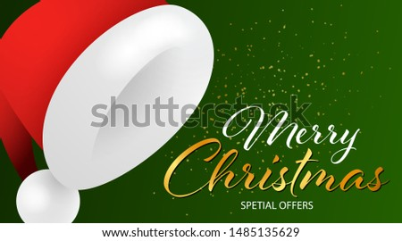Merry Christmas Special Offers lettering with Santa Claus hat and yellow confetti coming on green background. Lettering can be used for posters, leaflets, announcements