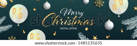 Merry Christmas Special Offers lettering with white balloons and gold star decoration on dark turquoise background. Up to percent lettering can be used for posters, leaflets, announcements
